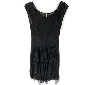 Free People sheer lace tiered little black dress